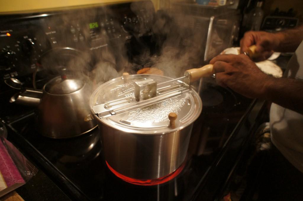 steaming popcorn