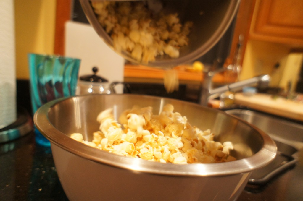 popcorn being poured