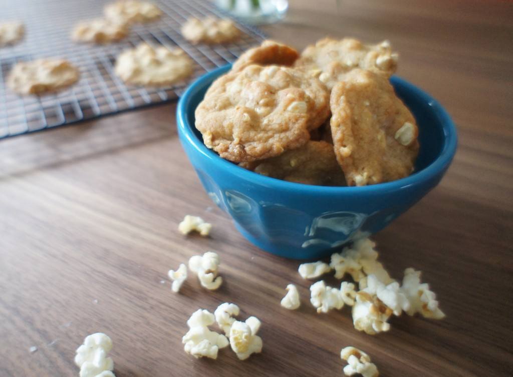 cookies in bowl w/ popcorn scattered