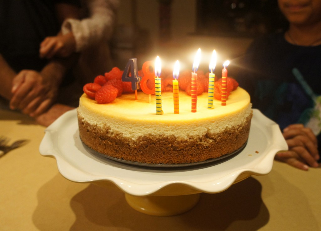 birthday candles cheesecake